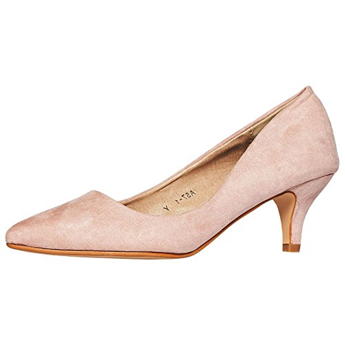 Toe On Womens Low Heel Kitten Court Shoes Suede Pink Blush Pointed Slip Faux ByPublicDemand Miranda gYqx8