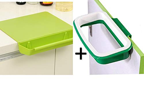 Cutting Board with Removable Trash Bin/Food Collector tray and Trash Bag Holder for use with disposable shopping bag -