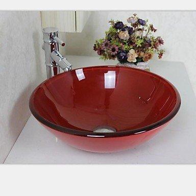Lavabo Rojo Cristal.Recipiente Redondo Rojo Lavabo De Cristal Templado Con El