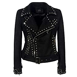 Rivet Studded Asymmetric Snakeskin Suede Fabric Black Jacket