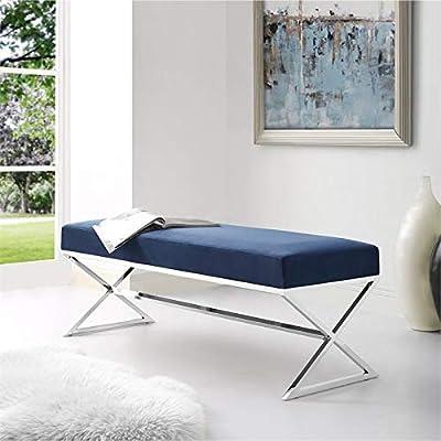 Brika Home Velvet Upholstered Bench in Blue and Chrome