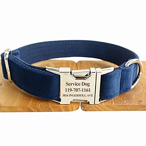 hipidog Personalized Dog Collar, Custom Engraved Dog Collars with Name, Phone & Number Address, Adjustable XS/S/M/L/XL Sizes Fabric Buckle ID Collar, Options to Matching Style Leash