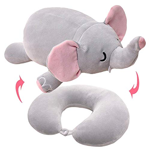 Willcome 2 in 1 Convertible Neck Pillow U Shaped Travel Pillow Stuffed Plush Toy Animal Elephant (Plush 11 Elephant)