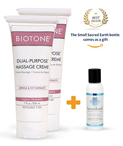 Biotone Dual Purpose Massage Creme 7 oz (Pack of 2) + Vegan and Organic Sacred Earth Lotion Sample Size (1oz) ()