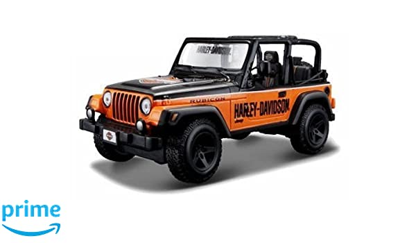 Custom Jeep Wrangler >> Amazon Com New 1 24 Display Harley Davidson Orange Custom Jeep