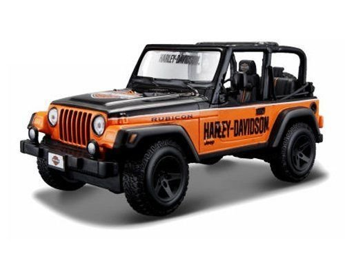 NEW 1:24 DISPLAY HARLEY-DAVIDSON - ORANGE CUSTOM JEEP WRANGLER RUBICON Diecast Model Car By Maisto