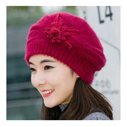 Midress Christmas Hat Fashion Womens Flower Knit Caps,Crochet Beanie Hat Winter Warm Cap Beret, Winter Snow Hat Sweater Ugly Holiday Hat Beanie Cap (Wine) ()
