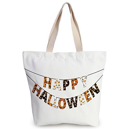 iPrint Personalized Canvas Tote Bag,Halloween,Happy Halloween Banner Greetings Pumpkins Skull Cross Bones Bats Pennant Decorative,Orange Black White,Canvas Shopping bag,shoulder handbags,Shoulder Bag