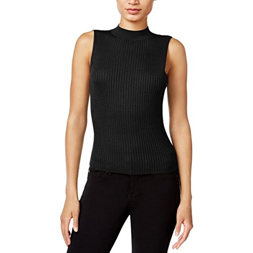 Bar III Womens Ribbed Knit Mock Neck Tank Top Black S