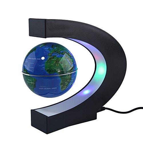 Price comparison product image Floating Globe World Map With LED Light Home Decoration LED Floating Magnetic Levitation (Blue)