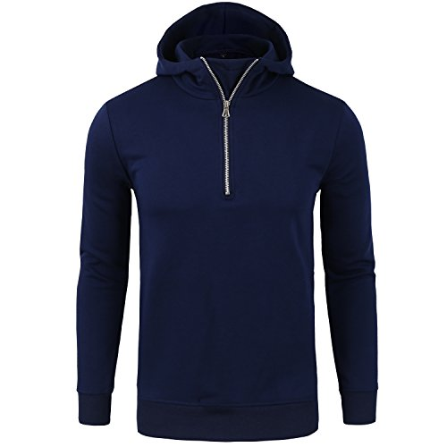 Manwan Walk Men's Cotton Hooded Pullover Fleece Sweatshirt W142 (Large, Navy blue)