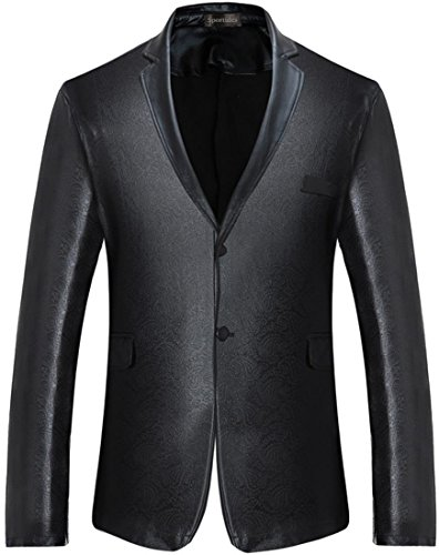 Sportides Men's Slim Fit Casual Bling Shiny Two Button Blazer Jacket Suits JZA128 Black ()