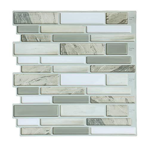 """HUE DECORATION Peel and Stick Decorative Tile - Modern Green Marble Design, Stick-On Smart Backsplash Tiles for Kitchen/Bathroom 10"""" x 9.8"""" (Pack of 6)"""
