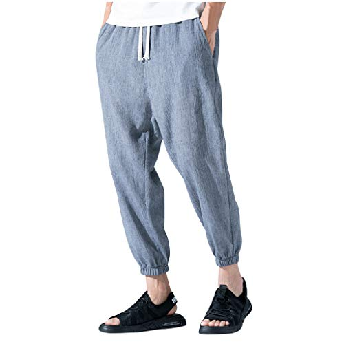 Pant Clearance Sale Cotton-Linen Casual Trousers for Men's Loose Drawstring Cargo Pants Relaxed Jogger Harem Pant ()