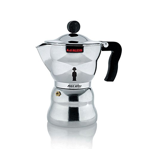 Alessi Moka Express. Makes 3 Cups of Expresso. Italian Stove Top Mocha, Expresso Coffee Maker. Designer Alessandro Mendini. Top Quality. Made of Aluminum.