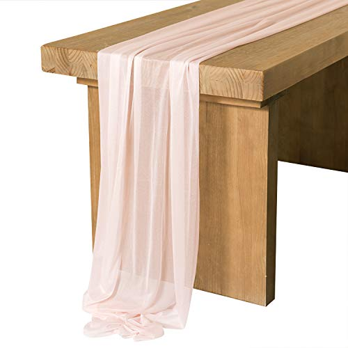 Ling's moment 10Ft Blush Sheer Table Runner for Rustic Boho Wedding Party Bridal Shower Decorations