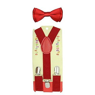 CUTE Baby Toddler Kids Children Boys Plain Elastic Suspender & Bow Tie Set
