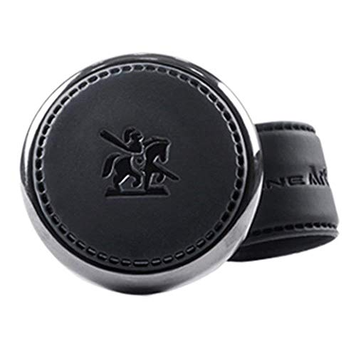 ([Leather Power Knob] BLACKSUIT can be mounted on all models Vehicle Handle Spinner Power Handle Spinner Handle Car Accessories luxury Hi-quality Power Handle Steering Wheel Spinner Knob)