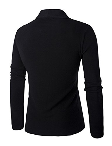 DAVID.ANN Men's Long Sleeve Draped Open Front Shawl Collar Longline Cardigan,Black,Medium by DAVID.ANN (Image #1)