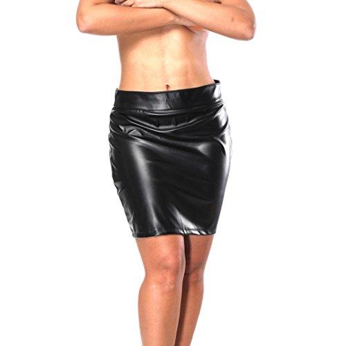Mutandine Intimo da Donna, Witsaye Donna Seducente Biancheria Intima Artificiale Pelle Aprire Il Cavallo Bodysuit Mutande Slip Novità Indumenti da Notte Babydoll Underwear, Nero