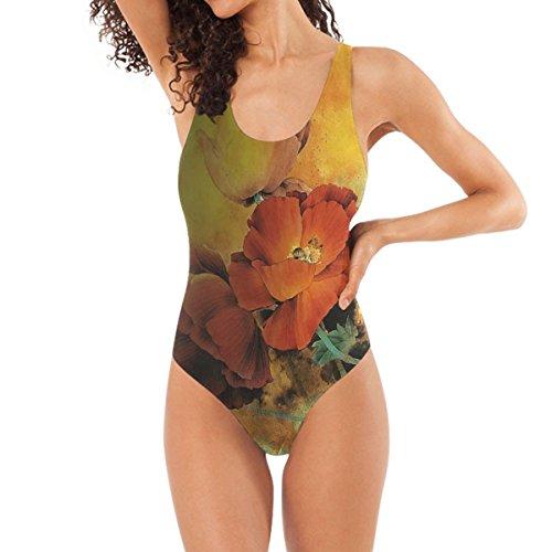 REBACAT - Bañador para Mujer con Estatua de Buda y Flor de Penoy de una Pieza, Bikini Triangular, Multi Color, M