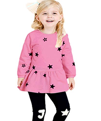 CuteMe Toddler Baby Girls Clothes Set Cute Star Print Long Sleeveand and Pants 2 Pieces Outfits (002,Pink,130)