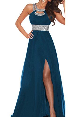 Damen A Lang Abendkleid Tintenblau Ivydressing Chiffon Schlitz Festkleid Steine Promkleid Linie Stilvoll BAHqF
