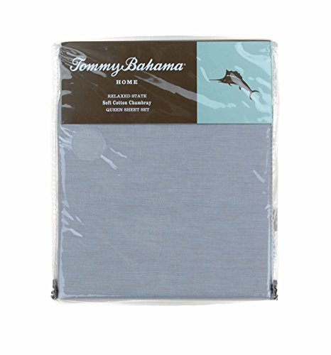 Tommy Bahama Soft Cotton Chambray Grey Queen Sheet Set
