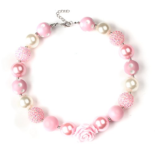 Bouren Pink Rose Chunky Bubblegum Bead Necklace For Girls Princess Pink Bubble Gum