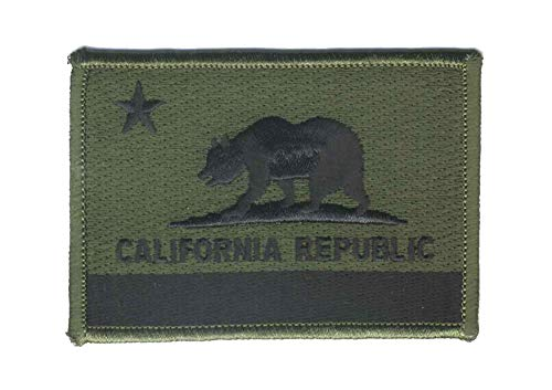 - Strange Cargo California Republic State Olive Drab Flag Embroidered Patch 2.5