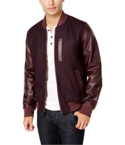 Tommy Hilfiger Mens Cascade Leather-Sleeve Bomber Jacket Red M