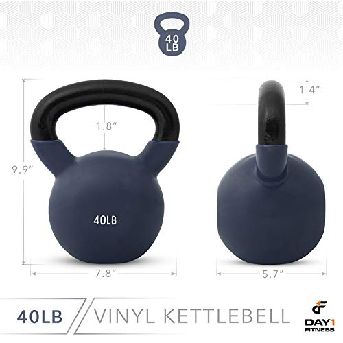 Day 1 Fitness Kettlebell Weights Vinyl Coated Iron 40 Pounds - Coated for Floor and Equipment Protection, Noise Reduction - Free Weights for Ballistic, Core, Weight Training by Day 1 Fitness (Image #2)