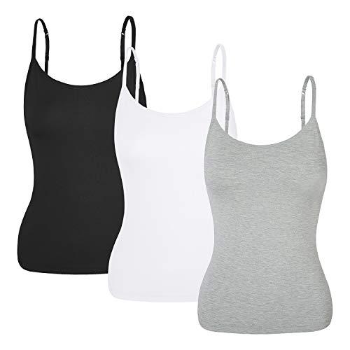 da6a9a9afd81b Manga Camisetas Tirantes Finos 3 Camiseta Para Natural Mujer negro Pack  gris Deporte Sin blanco Dormir ...