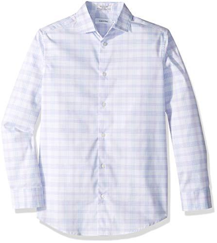 (Calvin Klein Big Boys' Long Sleeve Plaid Button-Down Dress Shirt, Roadmap Purple, 14)
