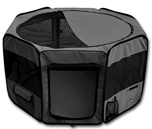 YoYo Moon 45″ Pet Puppy Dog Playpen Exercise Puppy Pen Kennel 600d Oxford Cloth Black Review