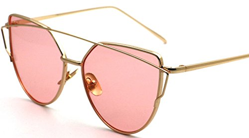 XMLC Unisexs' Metal Frame Polarized Cat Eye Street Fashion Sunglasses UV 400 Gold frame red sea (Where Can I Buy Cat Eye Contacts)