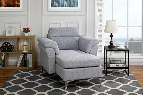 Modern Living Room Linen Fabric Chaise Lounge with Arm Rests (Light Grey) (Gray Chaise Lounge)