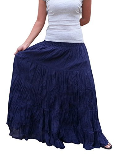Women's Plus Size Long Maxi Pleated Skirt with Elastic Waist One Size Fits Most. Dark Blue