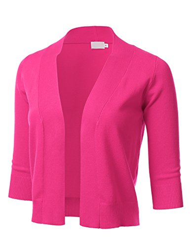 FLORIA Womens Classic 3/4 Sleeve Open Front Cropped Cardigan Pink L (Collarless 3/4 Sleeve)