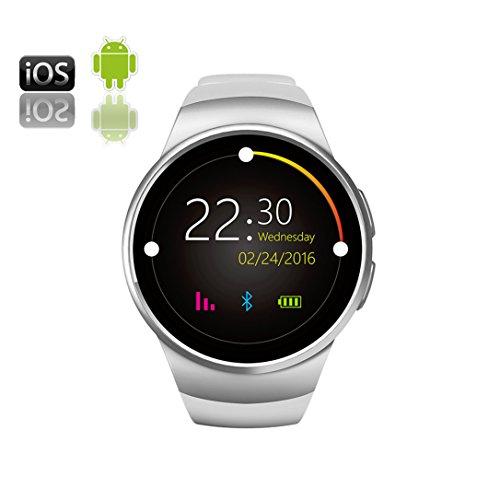 RapKaYoooy Reloj Inteligente Deportivo Cámara Remota Cronómetro Podómetro La Detección De La Frecuencia Cardíaca Teléfonos Inteligentes Android Y IOS Plata: ...