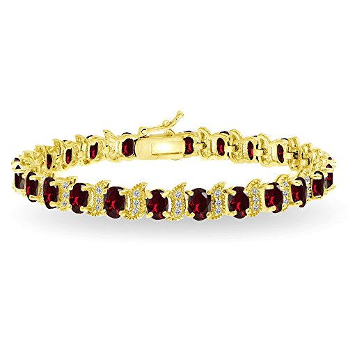 (GemStar USA Yellow Gold Flashed Sterling Silver Created Ruby 6x4mm Oval and S Tennis Bracelet with White Topaz Accents)