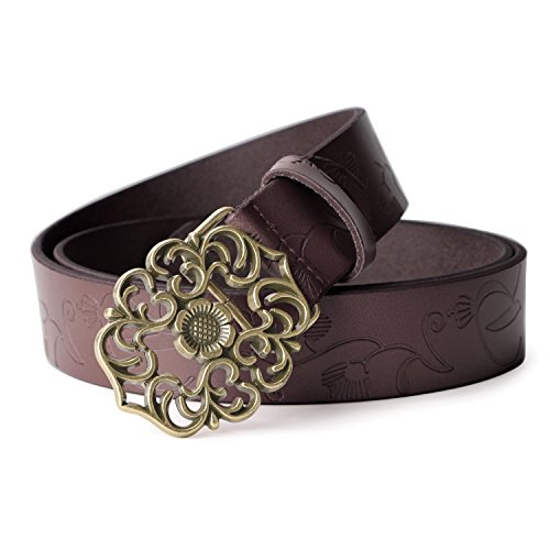 on Leather Belts For Women With Vintage Hollow Flower Buckle ()