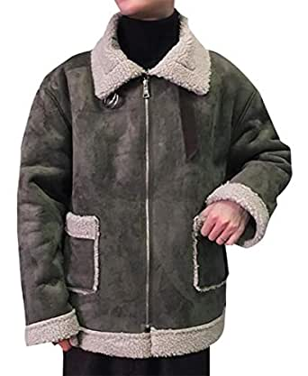 ainr Men's Classic Jacket Winter Faux Fur Lined Jackets