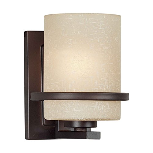 Filament Design CLI-FRT2404-01-32 1-Light Antique Sconce with Umber Linen Glass, Bronze