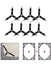 Bed Sheet Holders, WADEO Adjustable Triangle Sheet Fasteners Corner Suspenders Holder Straps Clips for Ironing Board Covers Mattress Pads (8-Pack Black)