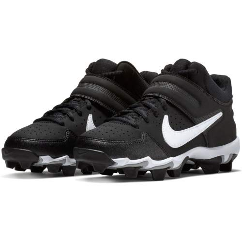 Nike Boy's Alpha Huarache Varsity Mid Keystone Baseball Cleat (3.5 Big Kid M, Black/White/Black)