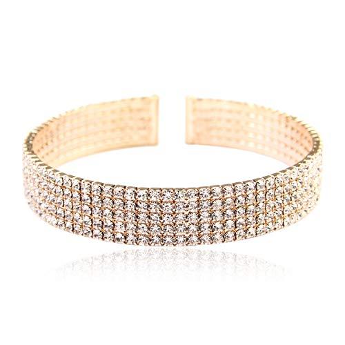 RIAH FASHION Sparkly Rhinestone Bridal Wedding Open Cuff Stretch Statement Bracelet - Cubic Zirconia Crystal Adjustable Bangles Criss Cross, Band (Band -5 Row - Gold)
