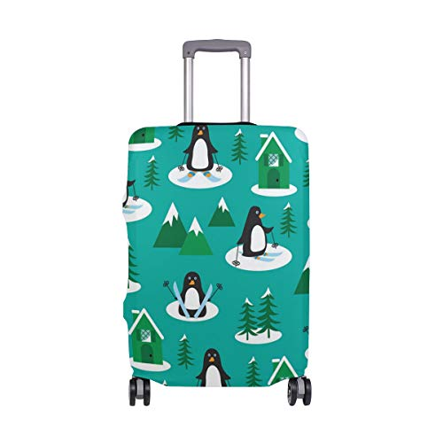 Green Tree Black Penguin Travel Luggage Protector Case Suitcase Protector For Man&Woman Fits 18-32 Inch Luggage