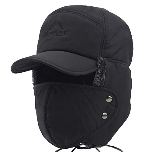 Greenery-GRE Winter 3 in 1 Thermal Fur Lined Trapper Bomber Hat with Ear Flap Full Face Mask Neck Warmer Windproof Insulated Baseball Cap Cycling Motorcycle Snow Ski Hat Headwear (Black)