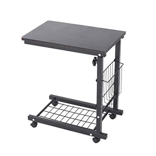 Cloudro Height Adjustable Sofa Side Table Wheel Mobile Computer Desk Snack Table (MDF, Black)